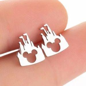 Silver Mickey Mouse Castle Earrings